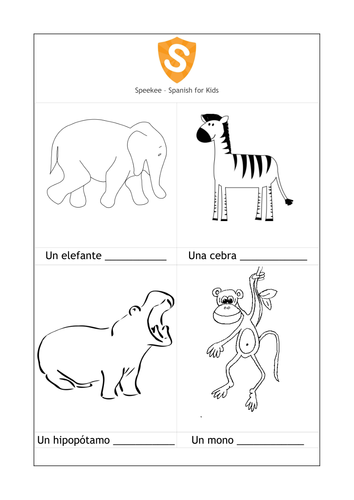 SPANISH WORKSHEET: Colour the Animals by speekee - Teaching ...
