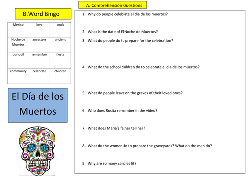 Worksheets Dia De Los Muertos Worksheets el dia de los muertos by emilyhoyal teaching resources tes worksheet doc