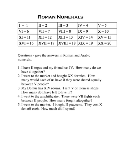 Roman numerals addition worksheets by sdethick teaching resources roman numeral problems ibookread ePUb