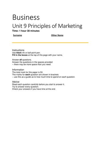Unit 9 Principles  of Marketing