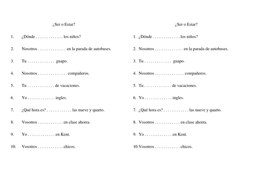 Printables Ser Vs Estar Worksheet ser vs estar by neythen teaching resources tes