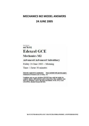 M2 Mechanics Model Answers for Edexcel June 2005