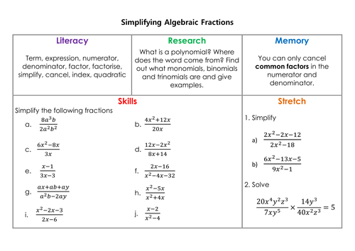 Simplifying Algebraic Fractions Homework by mrsmorgan1 Teaching – Simplifying Algebraic Fractions Worksheet