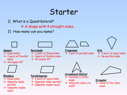Classifying And Sorting Quadrilaterals By Kirstenwalker Teaching