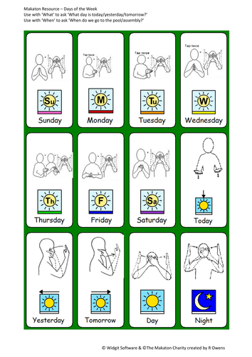 Sen Widgit Makaton Days Of The Week By Ro092828 Teaching