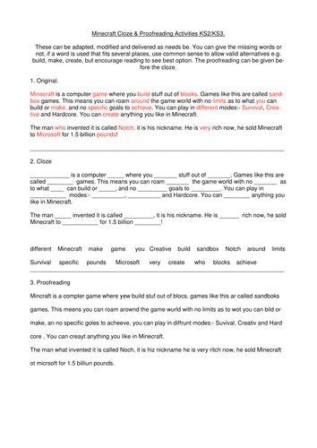 Minecraft Cloze & Proofreading Activities by CeriRW | Teaching Resources