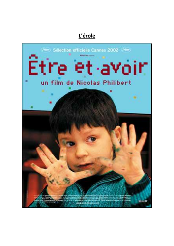 Etre et Avoir Film booklet by delphinedubreucq | Teaching Resources