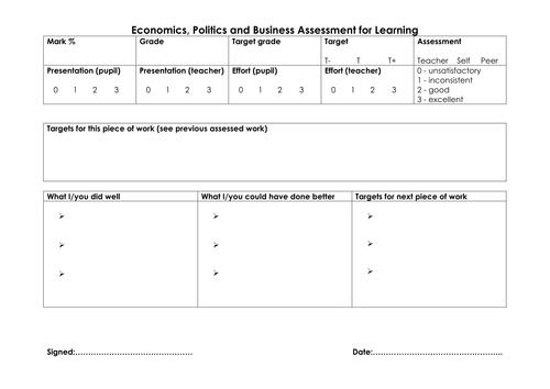 Economics AfL sheet