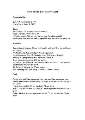 Budgeting activity (Holiday)