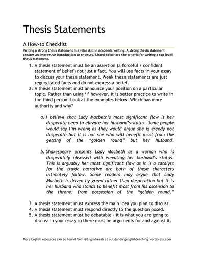 Writing A Thesis Statement How To Checklist By Helenl Cox