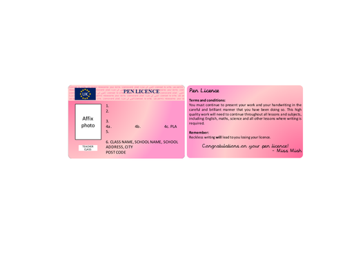 pen licence template by hajeramiah teaching resources tes