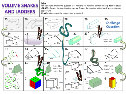 Volume of Prisms Snakes and Ladders