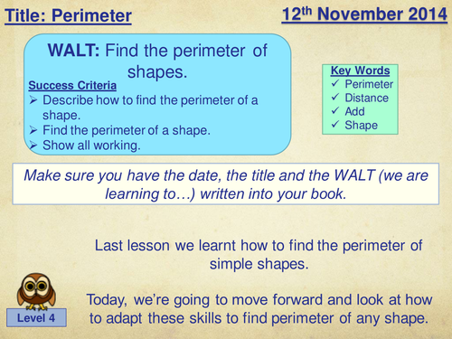 Perimeter Lesson Plan by amybrookes1988 - Teaching Resources - Tes