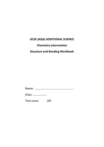 Structure and Bonding Workbook (revision)