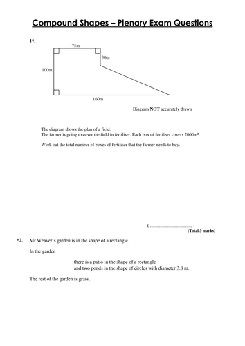 Area of compound shapes & Functional GCSE Exam Q's