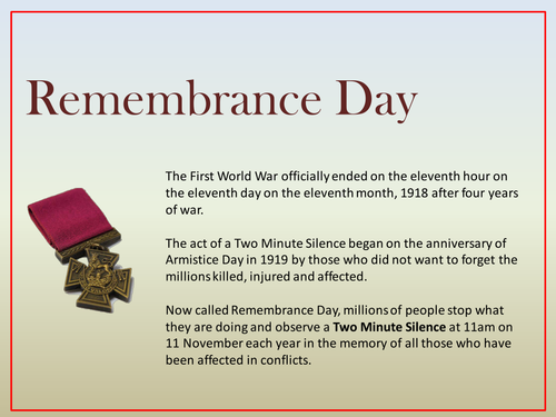 Remembrance Day Assembly by humansnotrobots | Teaching Resources