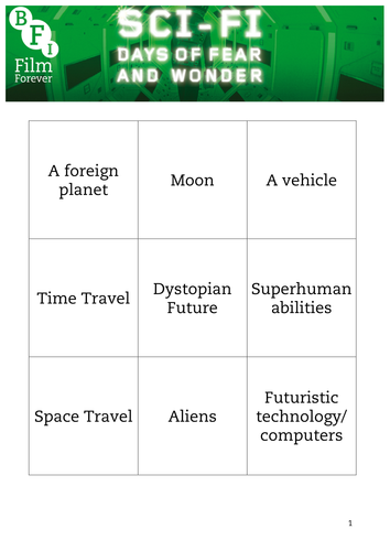 Sci-Fi Bingo