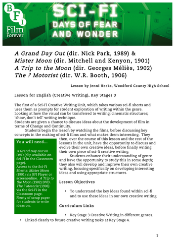 Sci-Fi Silents English KS3 1