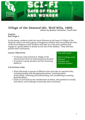 Village of the Damned English KS4