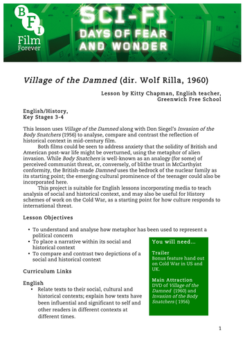 Village of the Damned English or History KS3-KS4