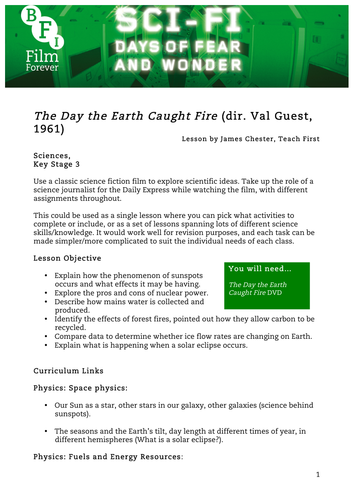 The Day the Earth Caught Fire Sciences or Geog KS3