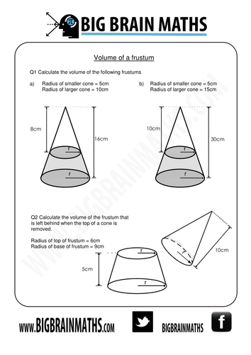 Worksheets Volume Of Cone Worksheet volume and surface area of cones frustums by busybob25 teaching resources tes