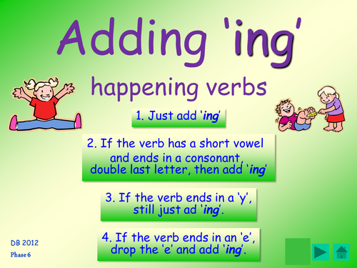 Phase 6 ing suffix spelling rules table cards and for English home magazine customer service