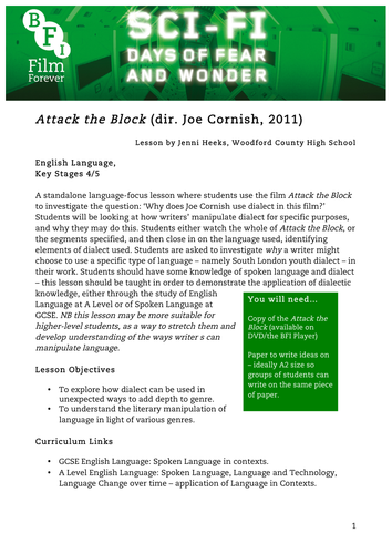 Attack the Block English KS4 to KS5