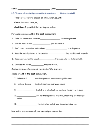 Subordinating conjunctions by bethrob - Teaching Resources - TES
