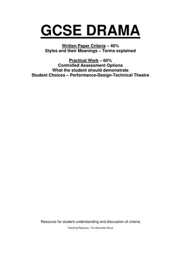 GCSE DRAMA RESOURCE / CRITERIA UNDERSTANDING