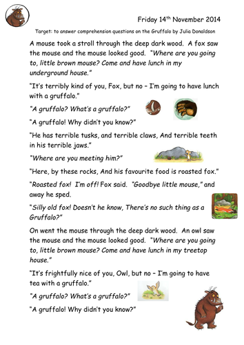 Gruffalo Comprehension By Joop09 Teaching Resources Tes