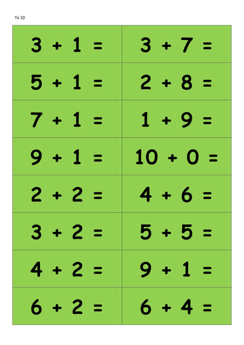 Addition and Subtraction differentiated cards