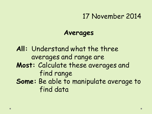 Averages For Beginners