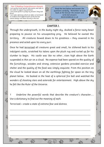 Printables Comprehension Worksheets For Grade 5 year 5 reading comprehension worksheet by hilly100m teaching resources tes