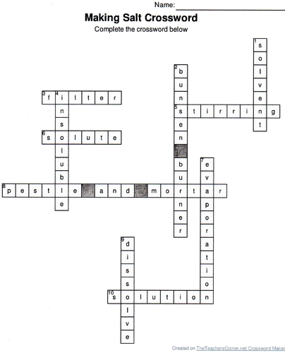 Making salt crossword by hannahjkendall teaching resources tes ccuart Images