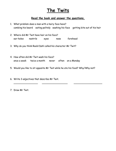 The Twits Worksheets By Clara5 Teaching Resources