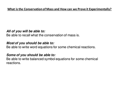 Conservation of Mass by karenshaw Teaching Resources TES – Conservation of Mass Worksheet