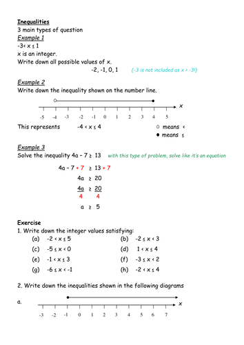 inequalities revision worksheet by ianmckenzie teaching resources tes. Black Bedroom Furniture Sets. Home Design Ideas