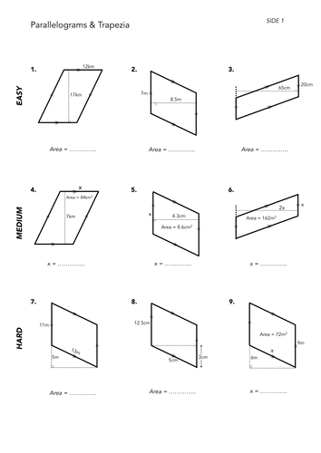Printables Area Of Parallelogram Worksheet area of quadrilaterals by jwmcrobert teaching resources tes