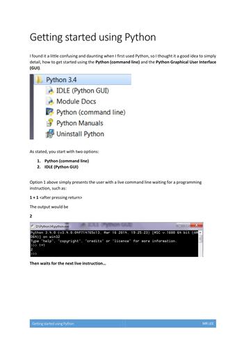 Getting started using Python programming language
