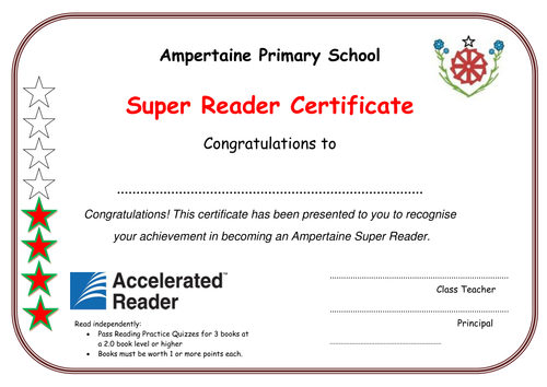 AR Accelerated Reader Certificates by kilrearules ...