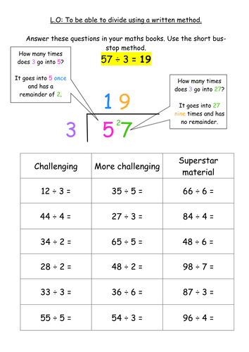KS2 Division Written Method - Bus Stop Method