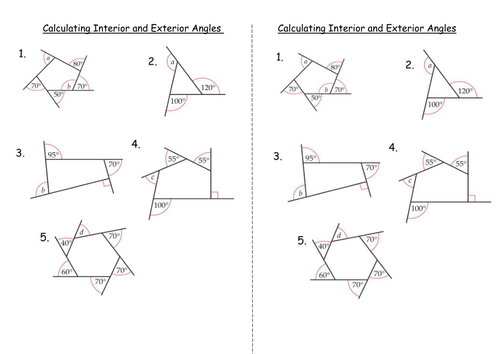 Worksheets Angles Of Polygons Worksheet interior and exterior angles of polygons by clairelogan100 calculating doc