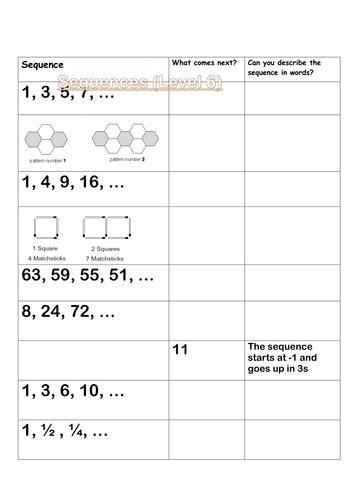 Sequences Intro Sheet