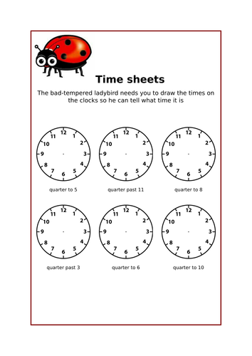 Bad Tempered Ladybird Time Sheets By Jessicagant