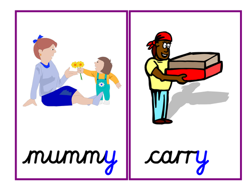 Phase 5: alternative pronunciations of the letter 'y' [cry, baby, gym], cards, pics, chart & ppt