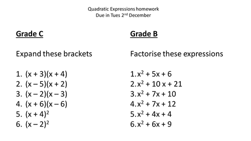 Printables Factoring Quadratics Worksheet factoring quadratics homework factorising quadratic expressions by jlbenzie teaching resources tes
