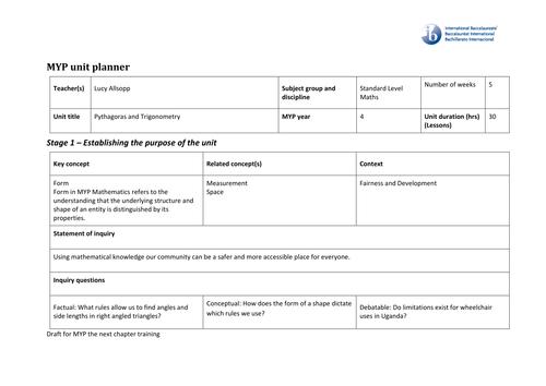 Unit plan for IB MYP