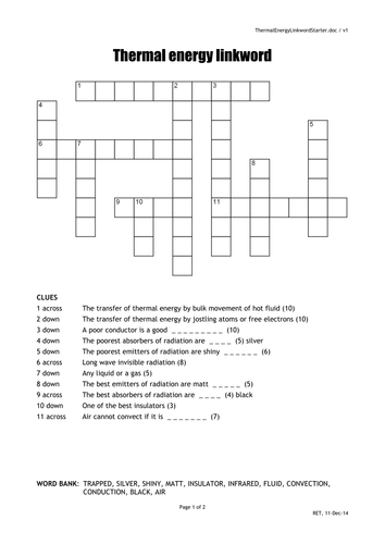 Heat crossword quick starter actitvity by oums0030 teaching heat crossword quick starter actitvity by oums0030 teaching resources tes ccuart Choice Image