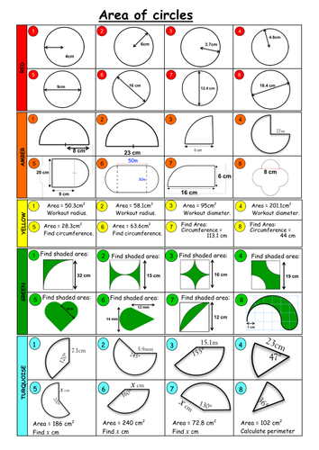 Area of Circle (5 difficulty levels) - with answer by Roons7 ...